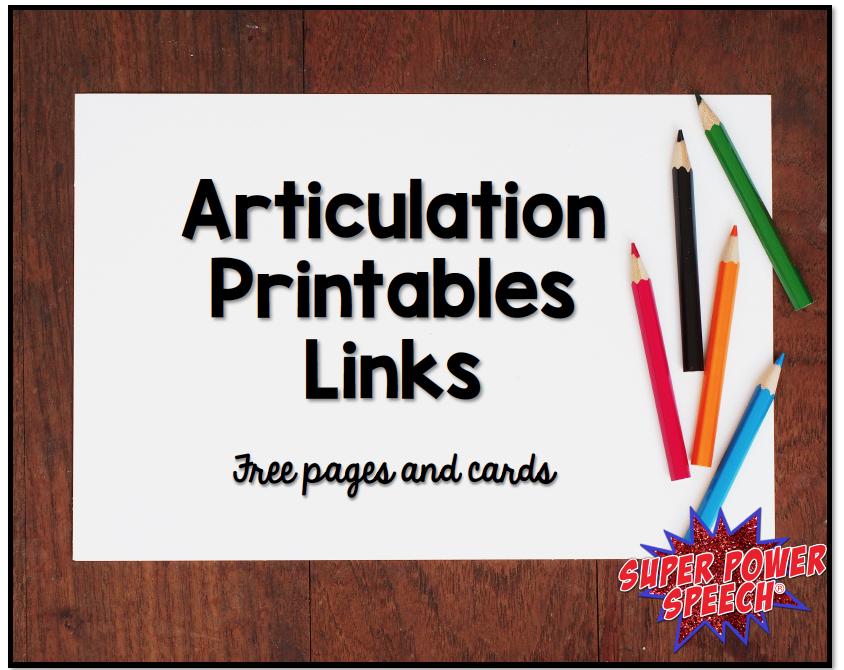 Articulation Printables Links