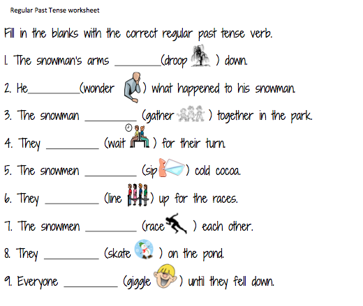 Regular Past Tense Worksheet on first grade verbs worksheet fill in