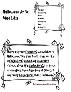 Halloween Mad Libs at Speech Club
