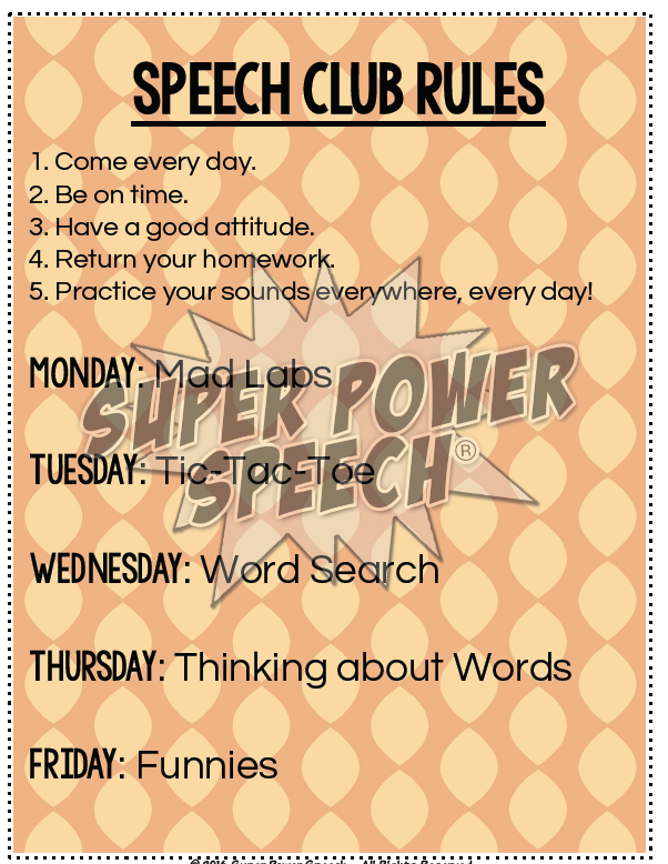 Rules from my Speech Club program that you can use to establish guidelines.