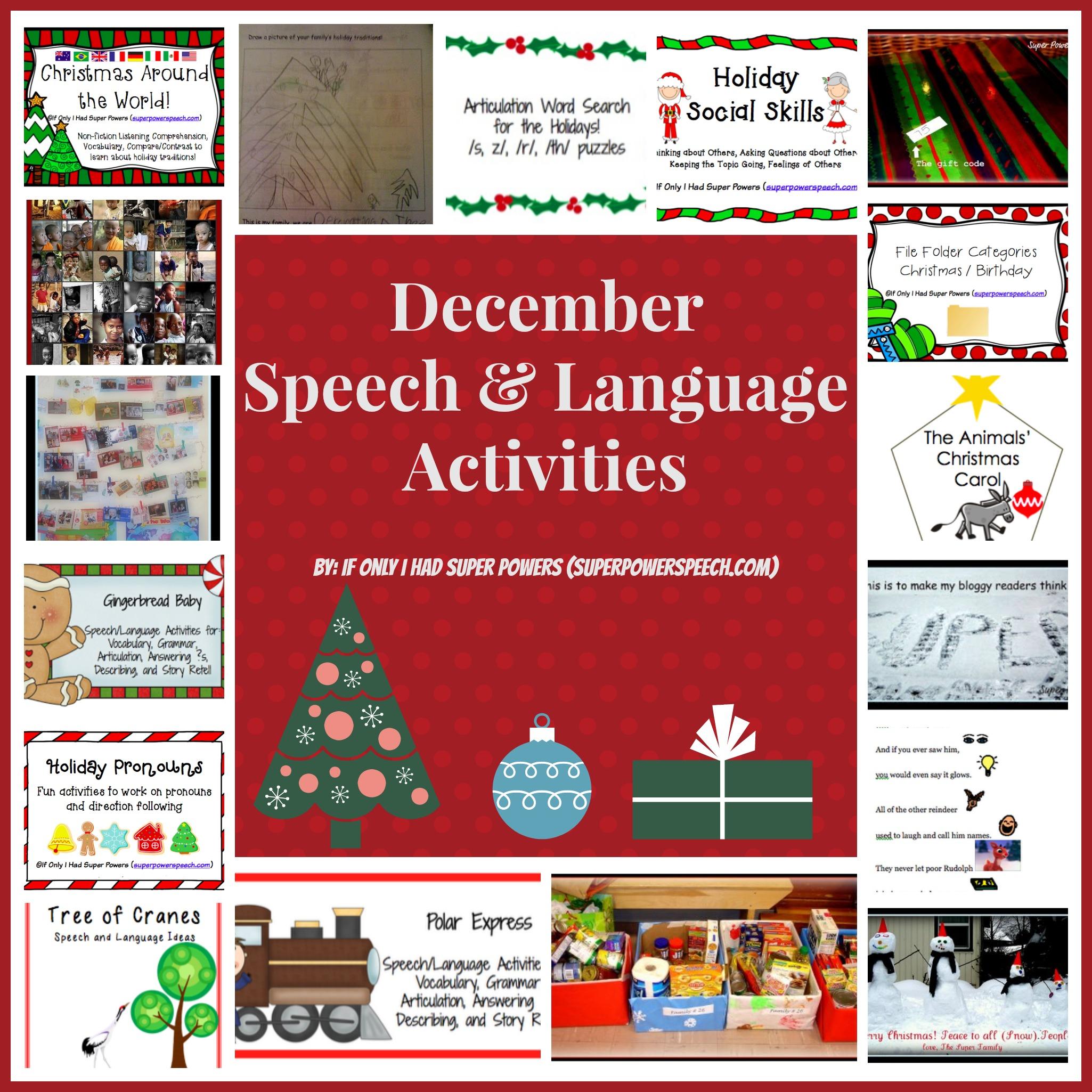 December Speech and Language Activities