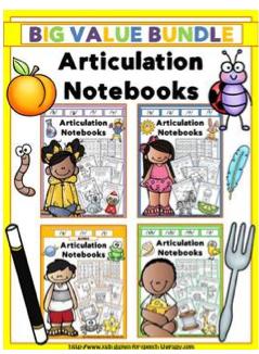 http://www.teacherspayteachers.com/Product/Articulation-Notebooks-Value-Bundle-1125623