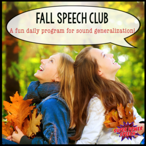 Fall Speech Club will help your articulation students with daily practice, tier 2 vocabulary, and lots of fun!