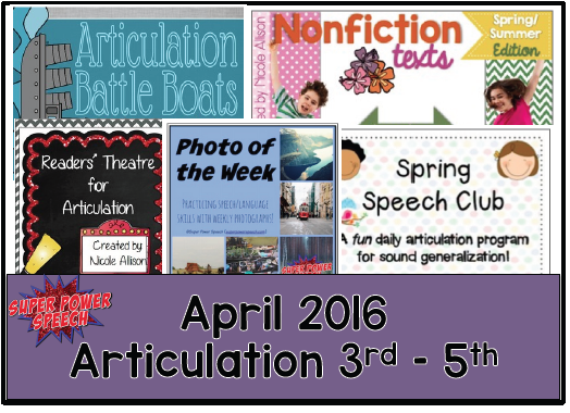 Free April speech lesson plans!