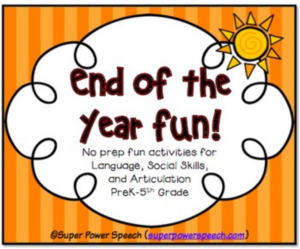 End of the year fun will provide you with 5 no prep activities for all levels of speech students!