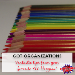 Fantastic organizational tips from your favorite SLP bloggers!