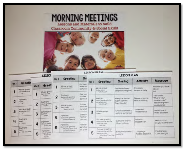 Morning meeting engages whole groups with fun social and language skills! Perfect for K-1st grade teachers, ELD teachers, and SLPs.